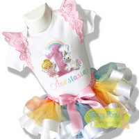 Unicorn & Fairy Themed with Ribbon Trim Tutu Birthday Set