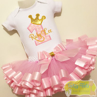 Reserved for Cherlouise - Princess Number - 3 spoke crown & Ribbon Trim Tutu Birthday Set (Matching Hat, Flutters & Socks)