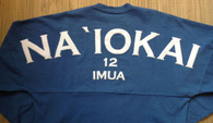 "Adult ""Na `Iokai"" Long-Sleeved Football Jersey-White Print on Slate"