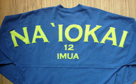"Adult ""Na `Iokai"" Long-Sleeved Football Jersey-Lime Print on Slate"
