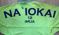 "Keiki ""Na `Iokai"" Long-Sleeved Football Jersey-Navy Print on Lime"