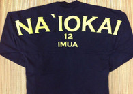 "Adult ""Na `Iokai"" Long-Sleeved Football Jersey-Lime Print on Deep Indigo"