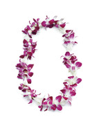 Tuberose & Purple Orchid Combination Lei -