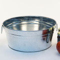 14 inch Round Galvanized Metal Tub or Bowl with Side Handles
