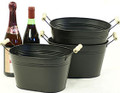 10 inch Oval Metal Tin Tub - Black with Wood Handles
