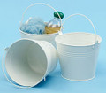 6 inch Round Metal Tin Pail - White