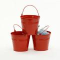 6 inch Round Metal Tin Pail - Red
