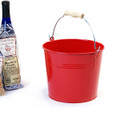 8.5 inch Round Metal Pail with Wood Handle - Red