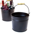 8.5 inch Round Metal Pail with Wood Handle - Dark Chocolate Brown Finish