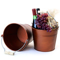 8.5 inch Round Metal Pail with Wood Handle - Copper