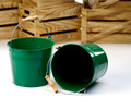 8.5 inch Round Metal Pail with Wood Handle - Green