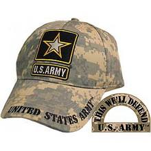 CAP-ARMY LOGO,CAMO. (BRASS BUCKLE)