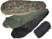 3 pc sleep system for $99.99 It is a Gortex woodland bivey cover with a black intermediate bag, a green patrol bag and a black stuff bag.