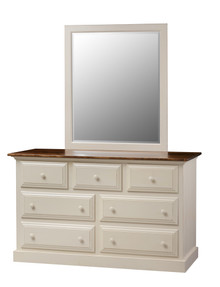 Pine 7-Drawer Dresser & Mirror