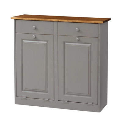 Pine Double Trash Bin Cabinet w/ Drawers - Whispering Pines Furniture