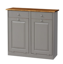 Pine Double Trash Bin Cabinet w/ Drawers