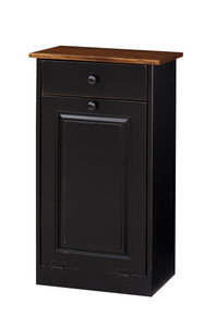 Pine Trash Bin Cabinet w/ Drawer