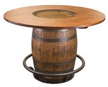 Whiskey Barrel Pub Table w/glass inlay