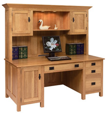 GO-3095 Computer Desk w/ Hutch, Mission Style
