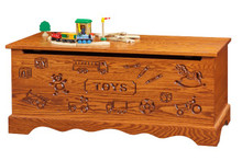 CR421-22 Oak Toy Chest w/ carving