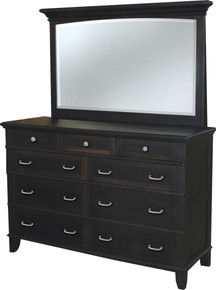 "JL 101B Plymouth Splay Base 62"" Dresser with Dresser Mirror"
