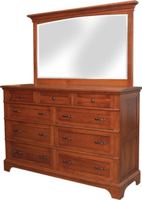 "JL 101C Plymouth Cut-Out Base 62"" Dresser with Dresser Mirror"