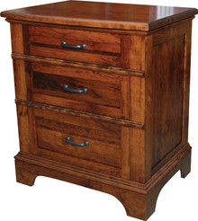 JL 104C Plymouth Cut-Out Base 3-Drawer Nightstand