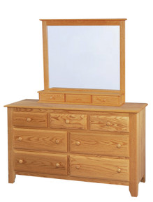 "JL 2 Shaker 56"" Dresser with Jewelry Drawer Mirror"