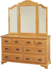 "JL 26 Heirloom 56"" Dresser with Tri View Dresser Mirror"