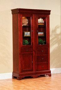 "MHF Louis Phillipe 46"" Bookcase with Door and Drawers"