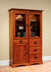 "MHF Old English Mission 46"" Bookcase with Door and Drawers"