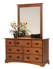 "MHF Old English Mission 56"" Dresser With Dresser Mirror"