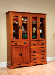 "MHF Old English Mission 60"" Bookcase with Doors and Drawers"