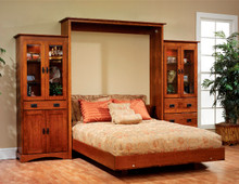 MHF Old English Mission Queen Size Murphy Wall Bed with Bookcases