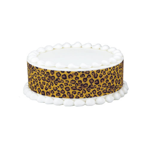 Safari leopard print edible cake border decoration for Animal print edible cake decoration