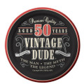 50th Birthday Vintage Dude Aged 50 Years Edible Icing Image