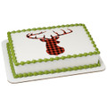 Red Check Plaid Deer Edible Icing Image