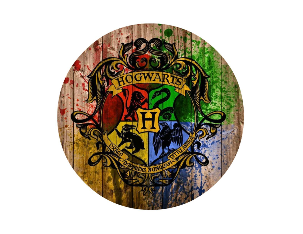 Harry Potter Hogwarts Logo On Wood Background Edible Icing