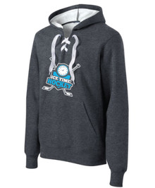 Ice Time Hockey Lace Tie Hoodie - Graphite Heather