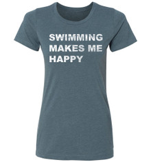 FSA Ladies Swimming Makes Me Happy CVC Crew Neck