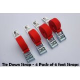 Tie Down and Cargo Straps - 4 Pack of 6' Straps