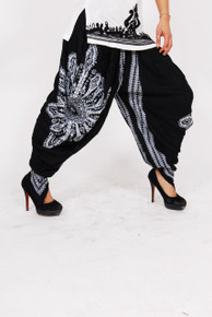 Ladies Dhoti - Black with White