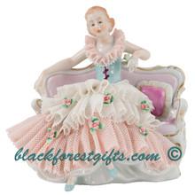 20873AF Dresden Lace Porcelain Doll Sitting