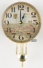 317PQ Quartz Shield Clock with Munich Germany Picture