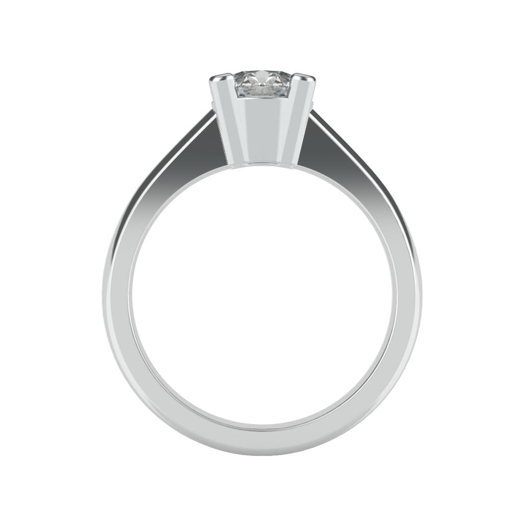 Brilliant Cut 4 Square Clawed Solitaire Engagement Ring - 'Dominica'