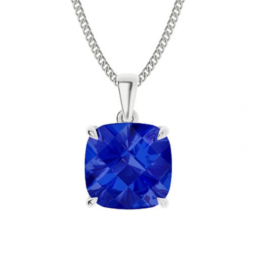 Blue Sapphire Sterling Silver Necklace