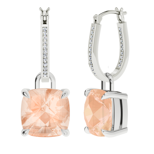 White gold and diamond hoop earrings with cushion checkerboard morganite drops