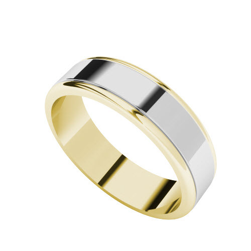 Two-Tone Wedding Ring - 18ct White Gold with Yellow Gold