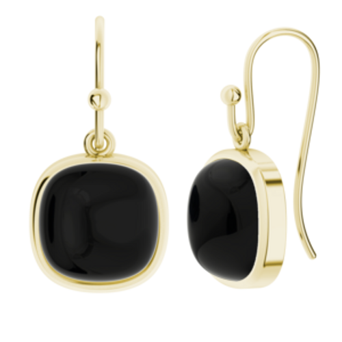 Onyx Square Gemstone Earrings 9ct Yellow Gold