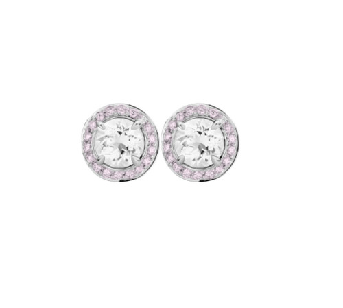 Round Brilliant Cut Diamond Stud Earrings with Pink Diamond Halo Platinum
